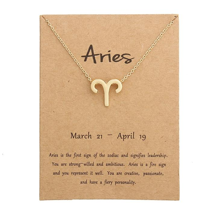 Aries Zodiac Sign Necklace Gold