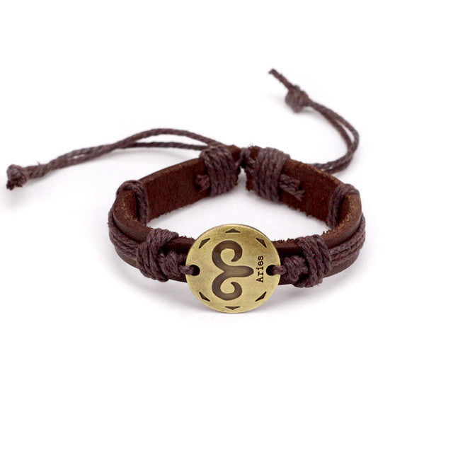 Aries Leather Cuff Brown Bracelet