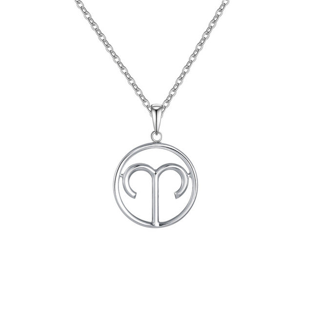 Aries Zodiac Sign Necklace Silver