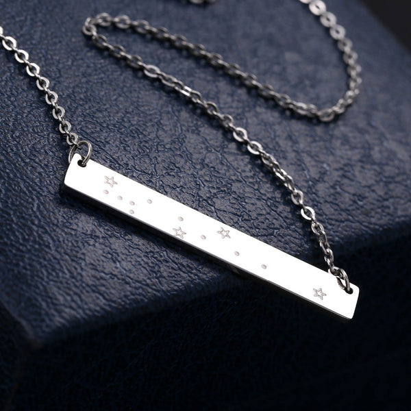 Cancer Constellation Women's Necklace Zodiac Bar Pendant Silver Chain
