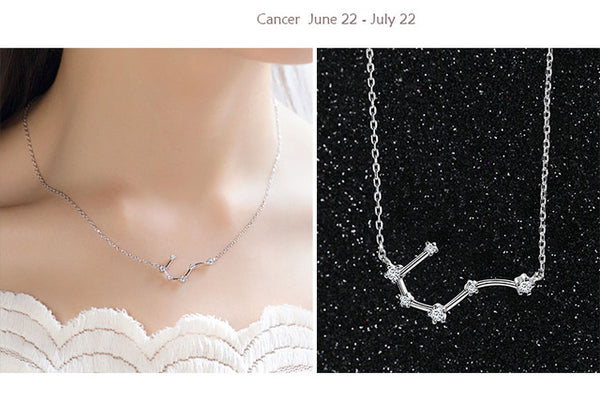 Cancer Constellation Women's Necklace Zodiac Pendant Silver Chain