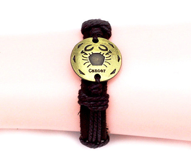 Cancer leather Cuff Brown Bracelet