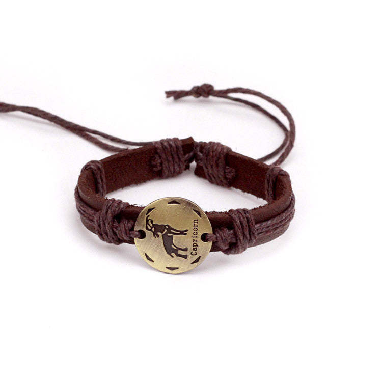 Capricorn Leather Cuff Brown Bracelet