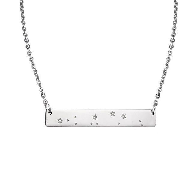 Capricorn Constellation Women's Necklace Zodiac Bar Pendant Silver Chain