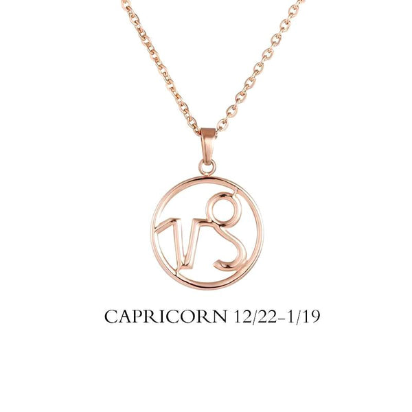 Capricorn Zodiac Sign Necklace Gold