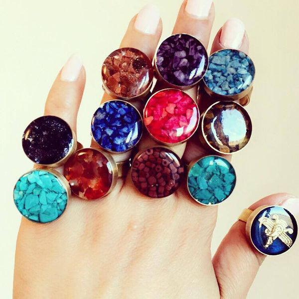Crushed Blue GoldStone Gemstone Ring - Lulugem.com