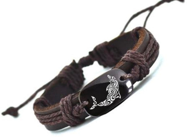 Dolphin Leather Cuff Brown Bracelet