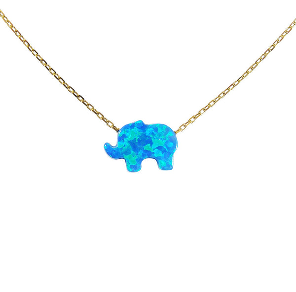 Elephant Women's Necklace Blue Opal Pendant Sterling Silver Chain Gold