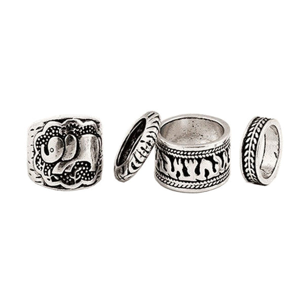 Elephant Antique Silver Ring Set