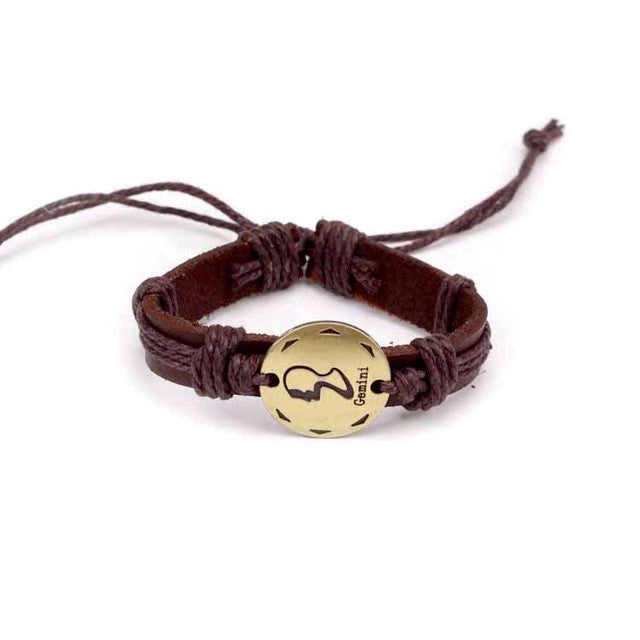 Gemini Leather Cuff Brown Bracelet