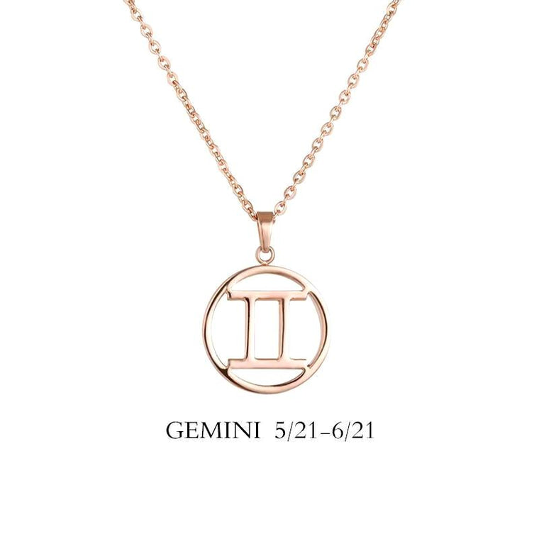 Gemini Zodiac Sign Necklace Gold