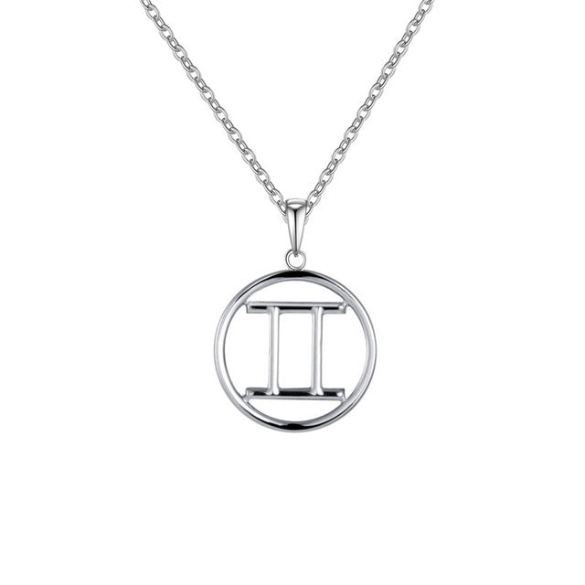 Gemini Zodiac Sign Necklace Silver