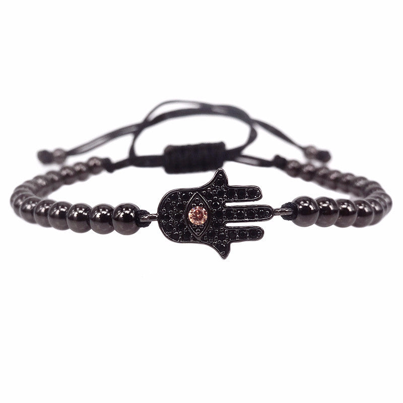 Hamsa Black Beaded Macrame Bracelet
