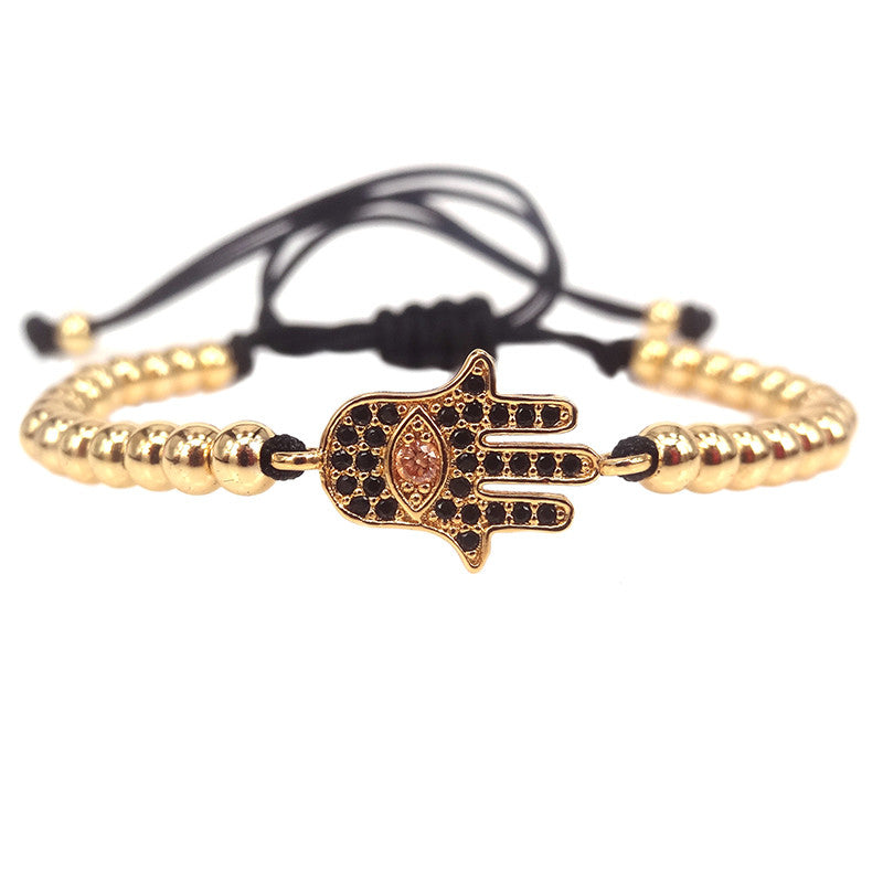 Hamsa Gold Beaded Macrame Bracelet