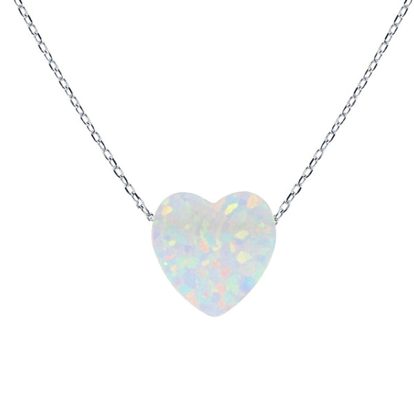 White Opal Heart Sterling Silver Necklace