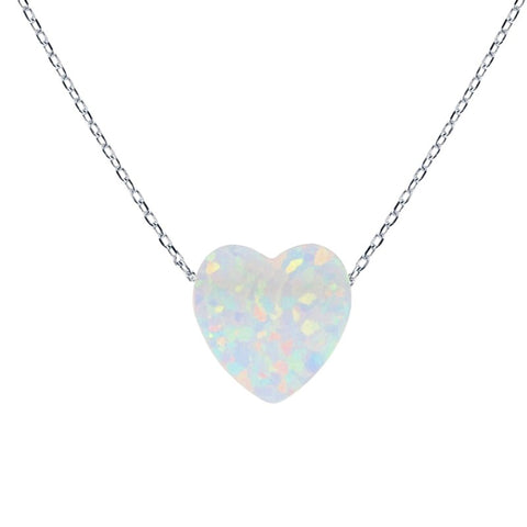 Heart Pendant Women's Necklace with White Opal Pendant Sterling Silver Chain