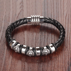 Men's Black Leather Stainless Steel Bracelet with Magnetic Clasp