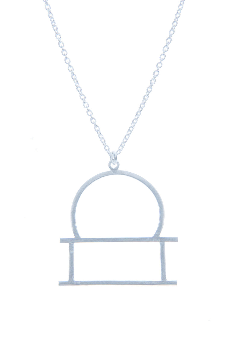 Libra Zodiac White Gold Necklace