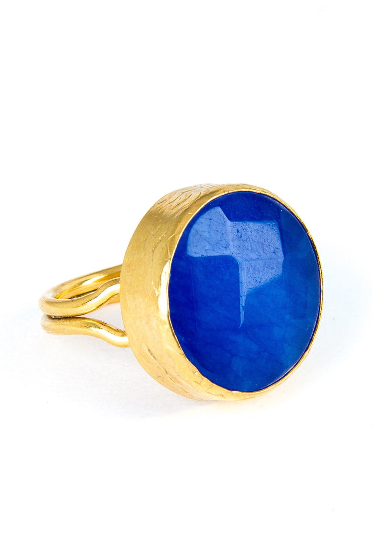 Blue Agate Gemstone Gold Ring