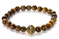 Tiger Eye Beaded Lion Head Bracelet