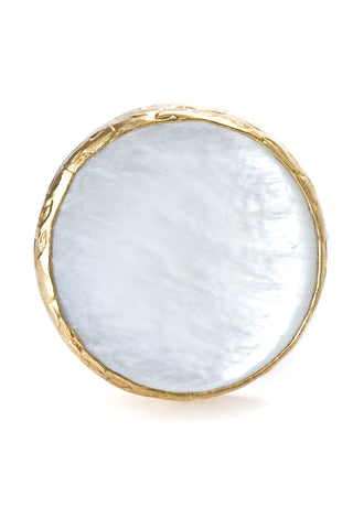 Mother of Pearl Gemstone Gold Ring