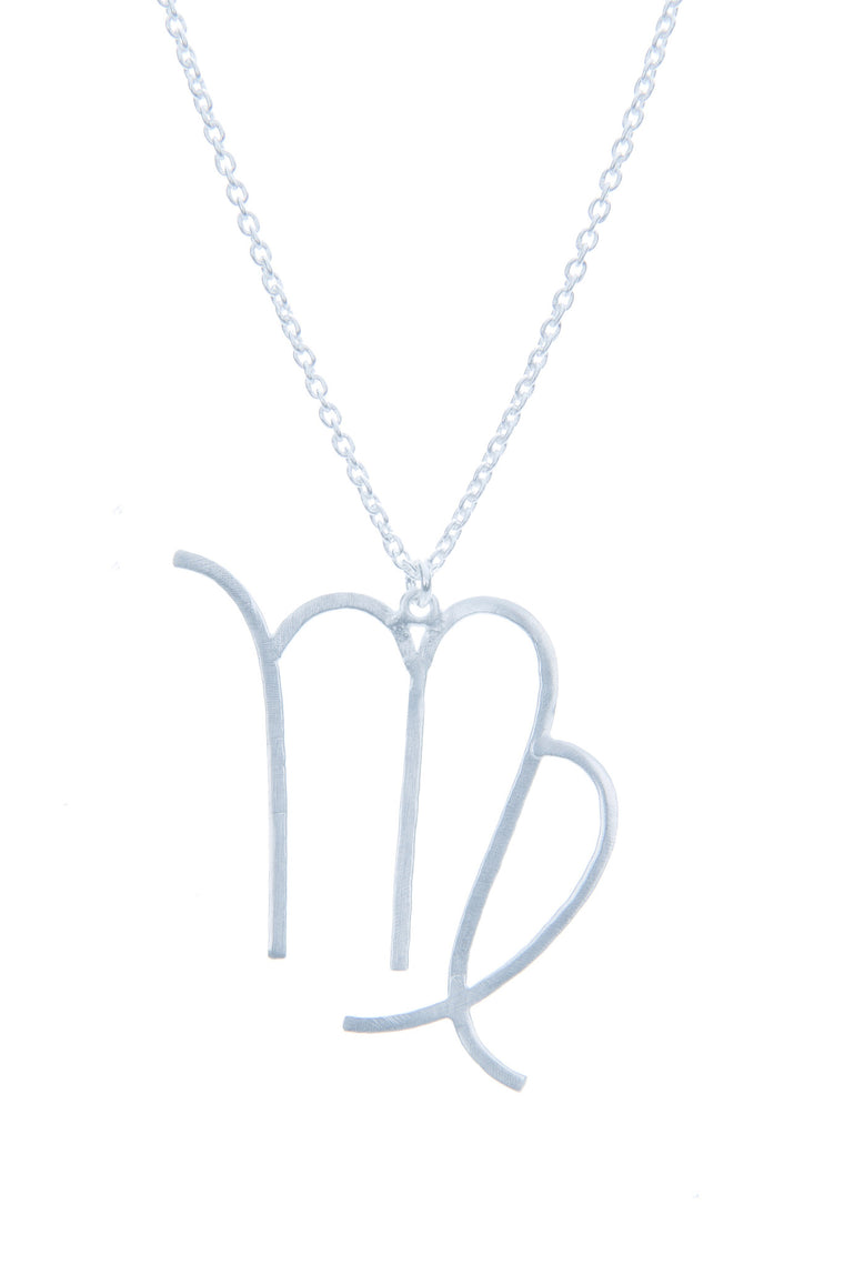 Virgo Zodiac White Gold Necklace