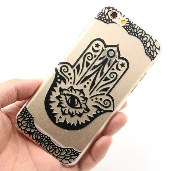 Hamsa Hand Clear & Black Phone Case for iPhone 6/6S - Lulugem.com