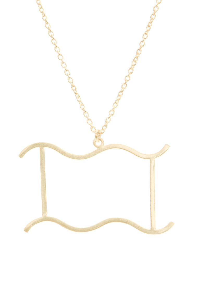 Aquarius Women's Necklace Zodiac Pendant Gold Chain