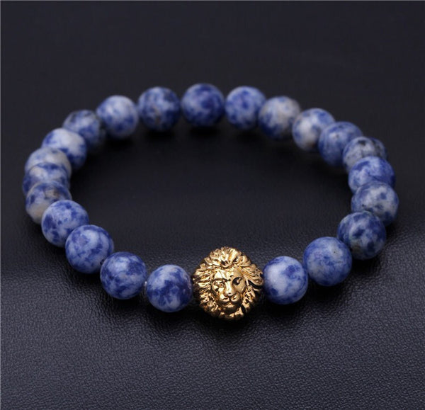 Sodalite Beaded Lion Head Bracelet