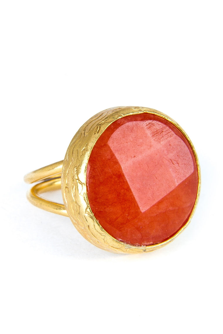 Orange Carnelian Gold Ring