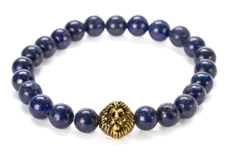 Lapis Lazuli Beaded Lion Head Bracelet