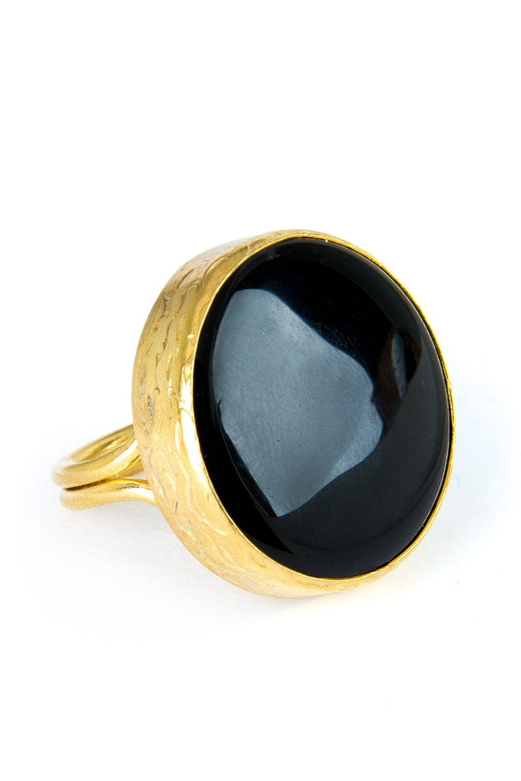 Black Onyx Gemstone Gold Ring