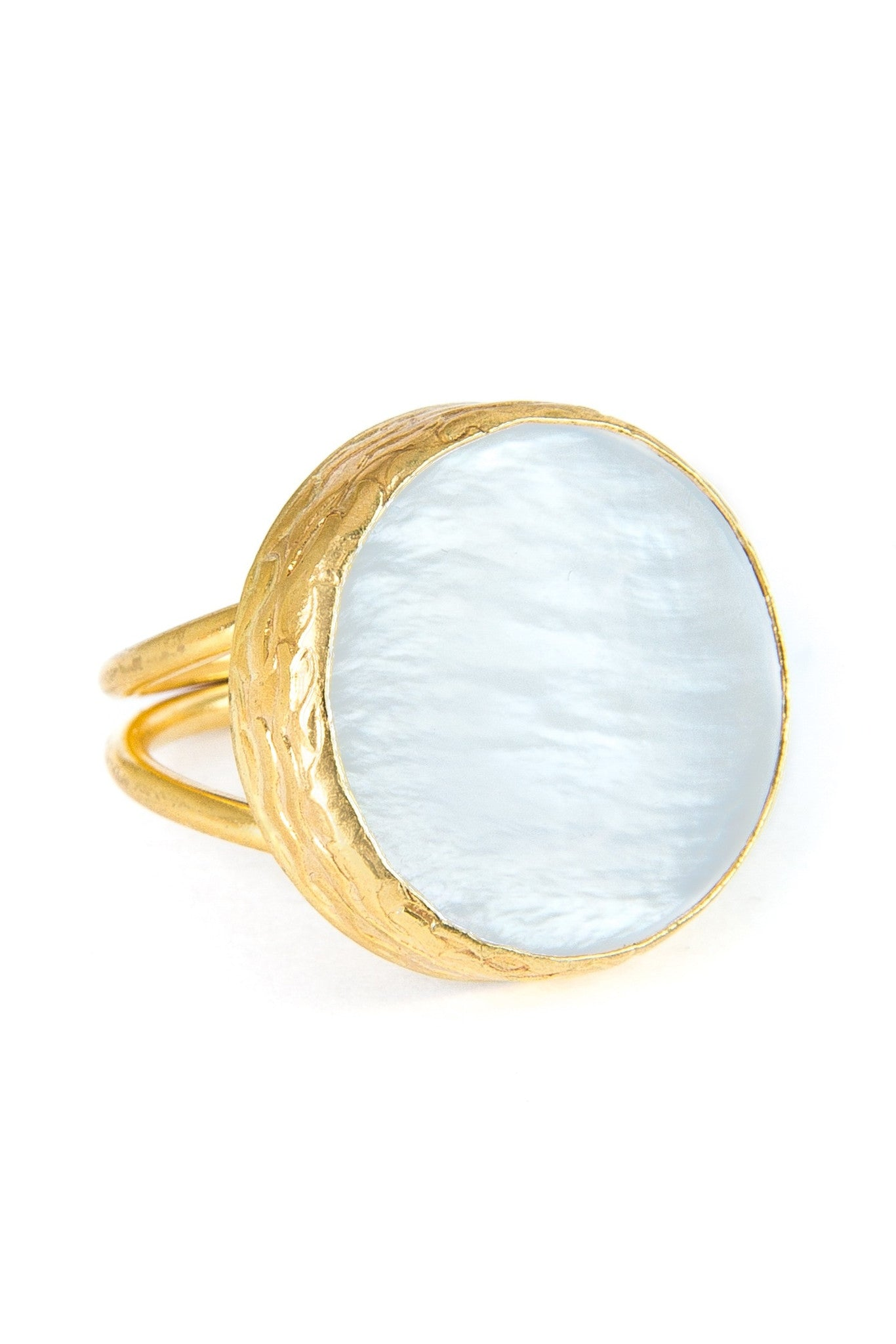 Mother of Pearl Gemstone Gold Ring - Lulugem.com