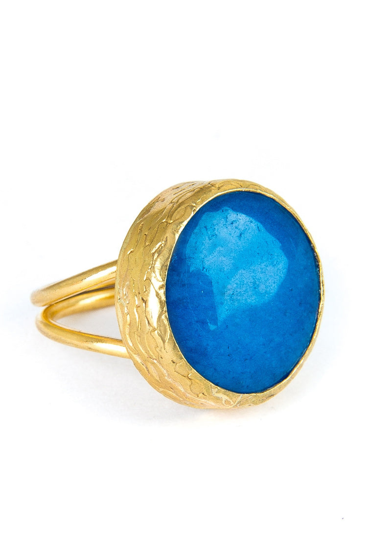 Blue Onyx Gemstone Gold Ring