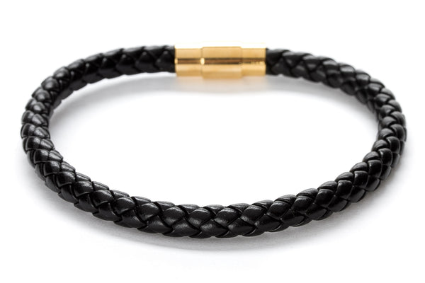 Men's Black Braided Leather Stainless Steel Bracelet