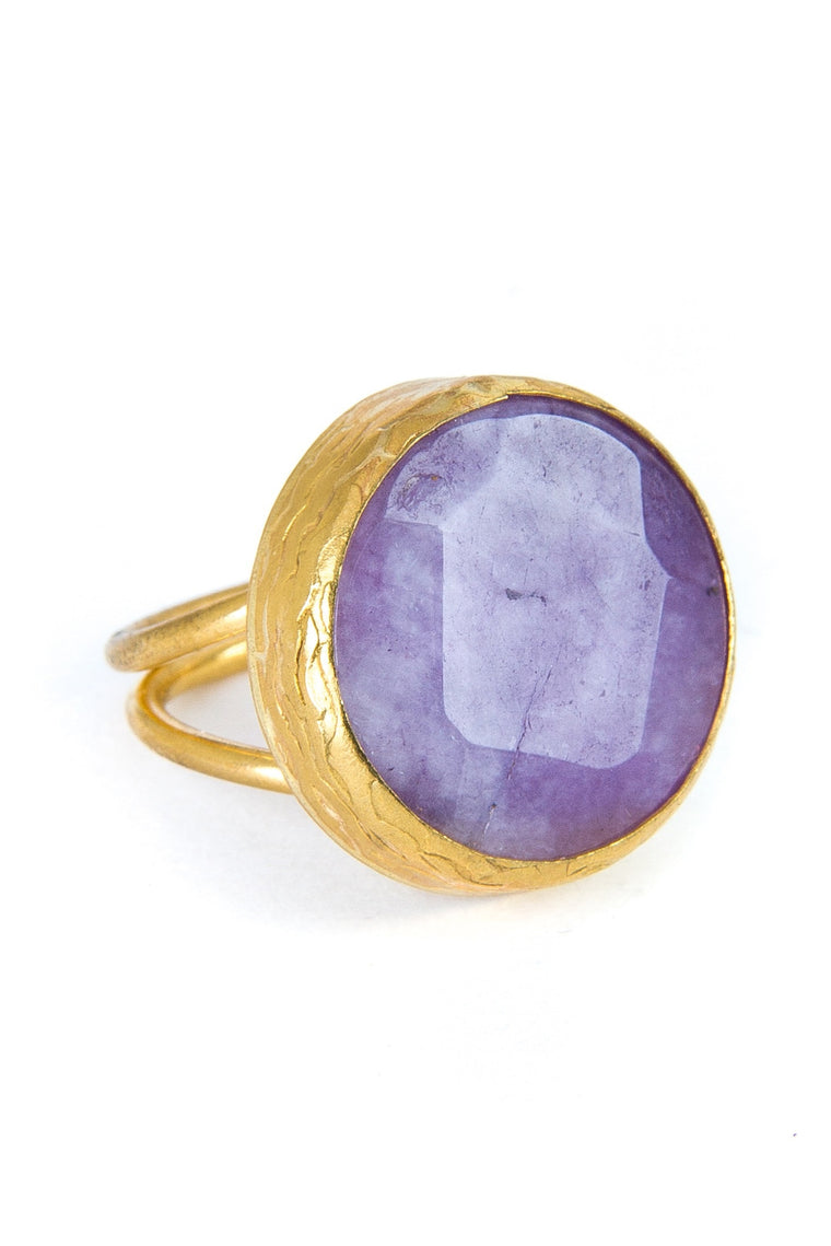 Lilac Amethyst Gemstone Gold Ring
