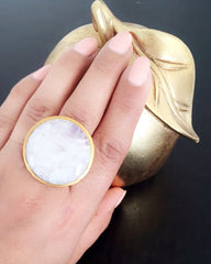 White Rainbow MoonStone Gold Ring