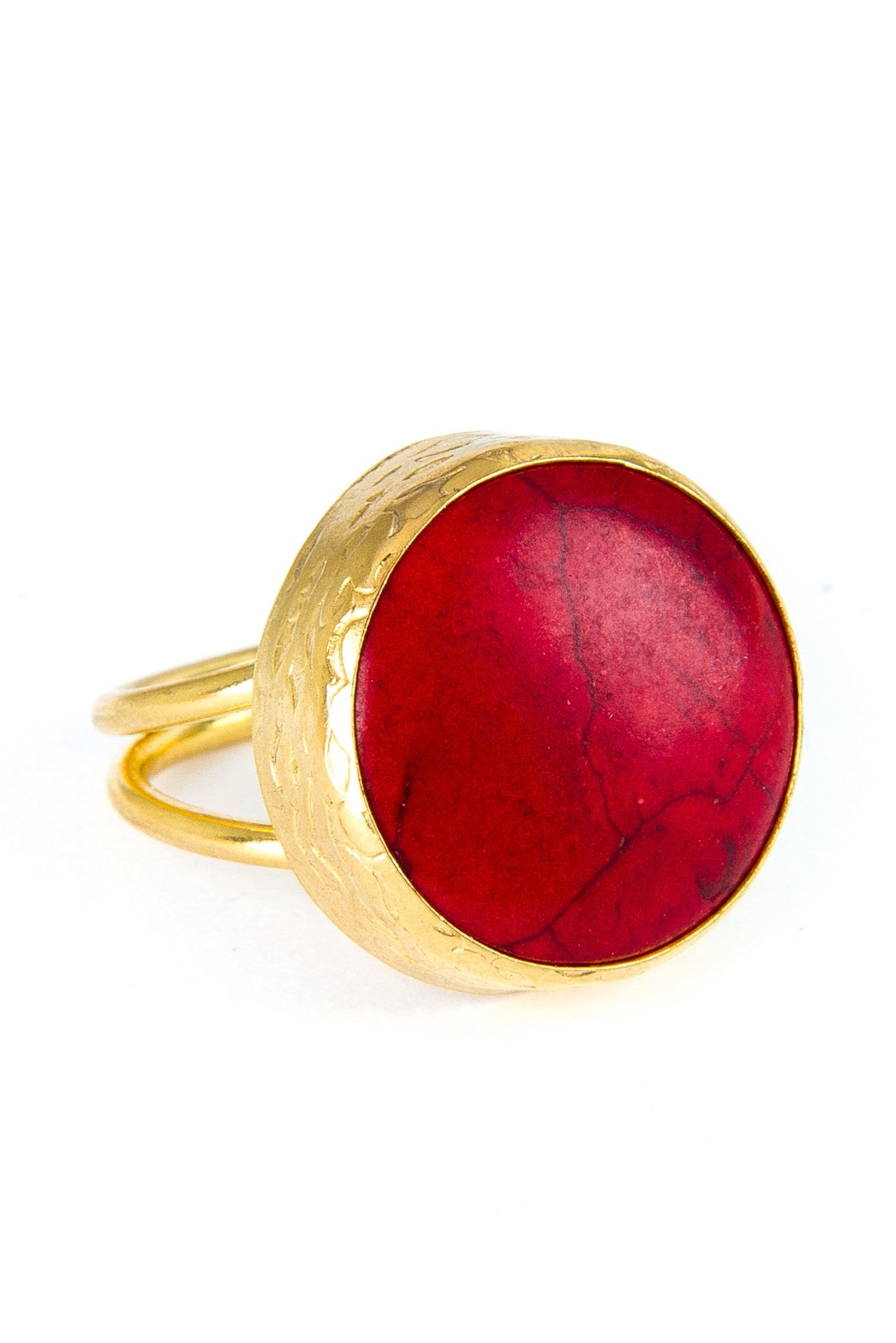 Red Jasper Gemstone Gold Ring
