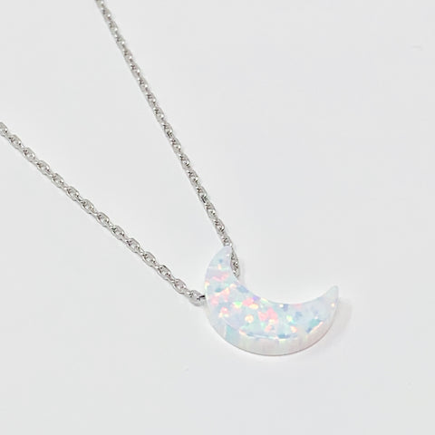 Crescent Moon Women's Necklace White Opal Pendant Sterling Silver Chain