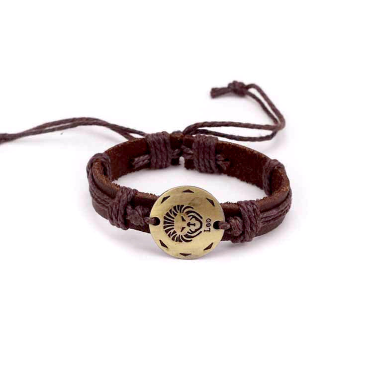 Leo Leather Cuff Brown Bracelet
