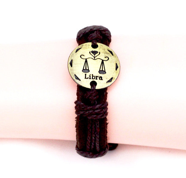 Libra Leather Cuff Brown Bracelet