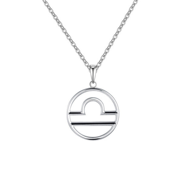 Libra Zodiac Sign Necklace Silver