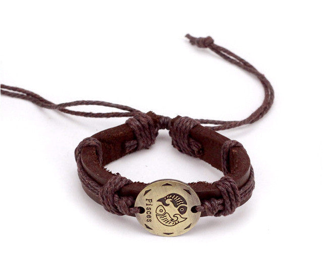 Pisces Leather Cuff Brown Bracelet
