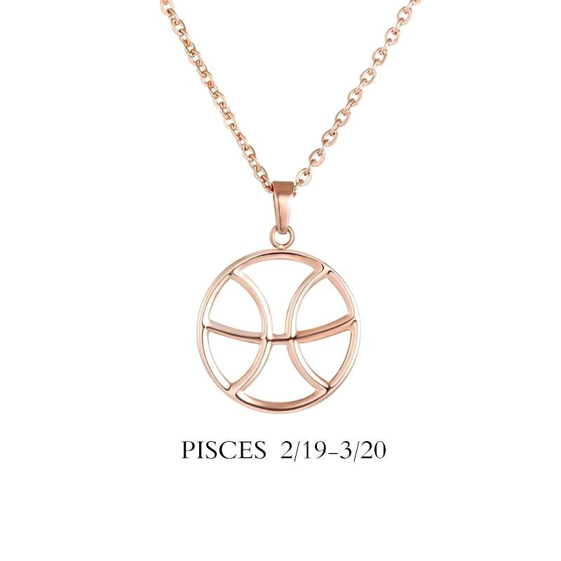 Pisces Zodiac Sign Necklace Gold