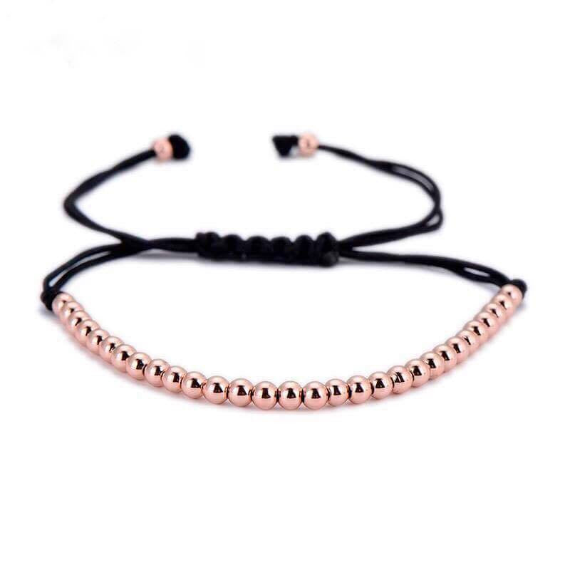 Rose Gold Beaded Macrame Bracelet
