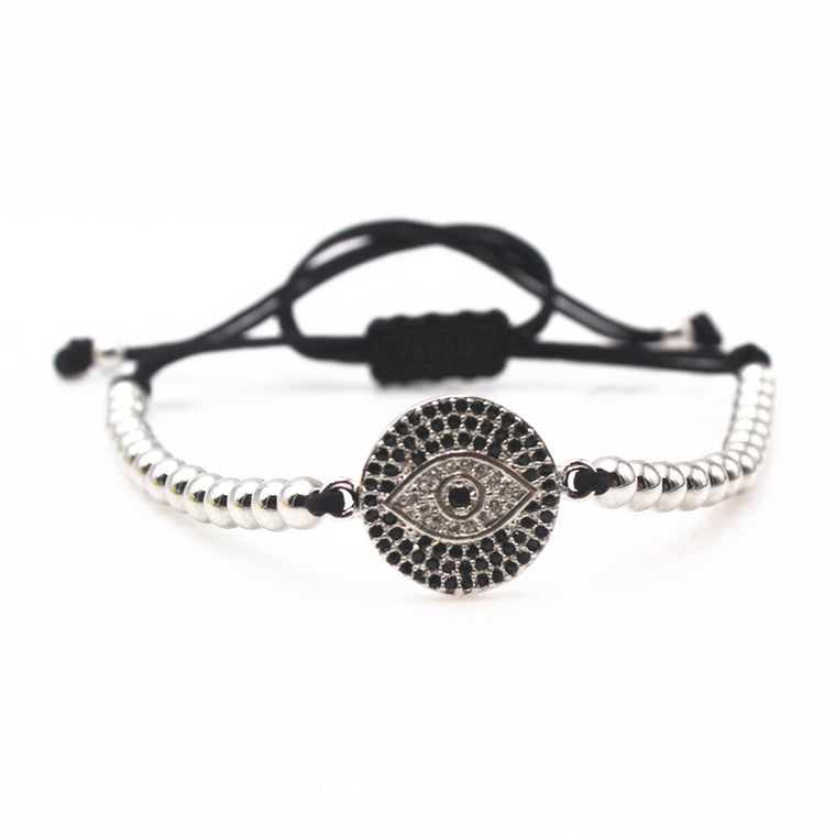 Evil Eye Silver Beaded Macrame Bracelet