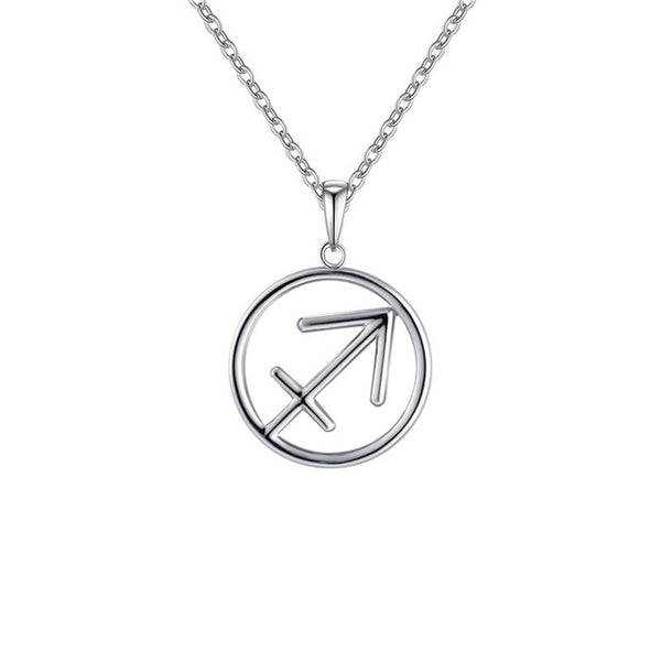 Sagittarius Zodiac Sign Necklace Silver