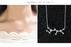 Sagittarius Zodiac Constellation Silver Necklace