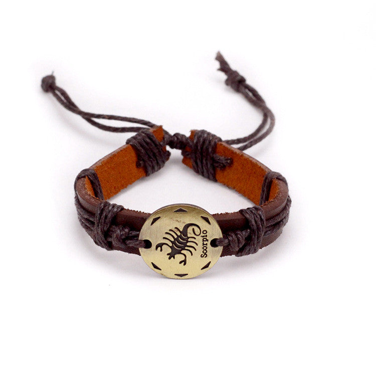 Scorpio Leather Cuff Brown Bracelet
