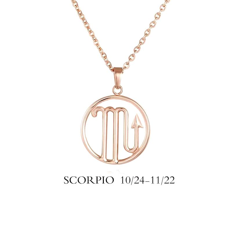 Scorpio Zodiac Sign Necklace Gold